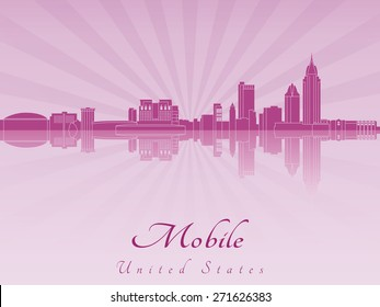 Mobile skyline in purple radiant orchid in editable vector file