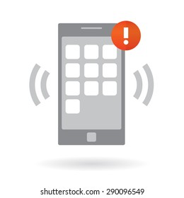 Mobile smart phone with alarm notification. Modern vector illustration, flat design