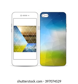 Mobile smartphone with an example of the screen and cover design isolated on white background. Abstract colorful polygonal backdrop, blurred image, stylish triangular and hexagonal vector texture.