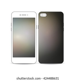 Mobile smartphone with an example of the screen and cover design isolated on white background. Abstract blurred background, modern stylish dark vector texture.