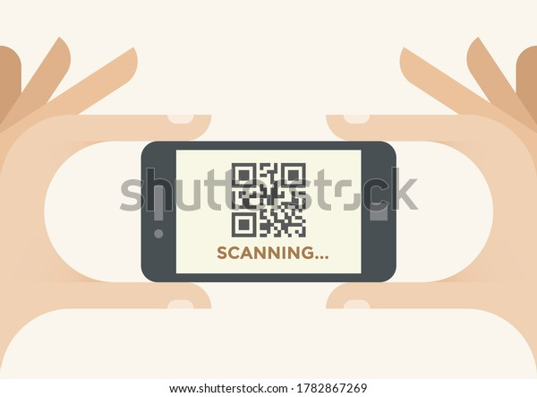Mobile smartphone scanning QR barcode in human hands. Concepts: Online shopping, product information, website URL address locator, applications, payment, consumerism, advertising, virtual stores