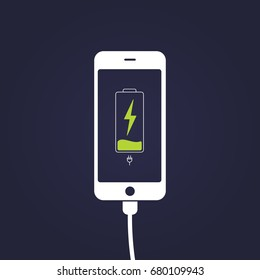Mobile smartphones charging on black background. Phone with a low battery charge and with USB connection.  Flat style vector illustration