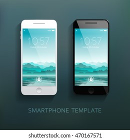 Mobile smartphones template set with mountains landscape background. Elegant, realistic. Technology, communication. Vector illustration
