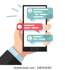 Mobile sms notifications. Hand with smartphone with online texting messages. Dialogue interfaces, chatting application vector conversation person phone symbols digital concept