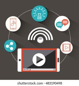 mobile social media flat icons vector illustration design