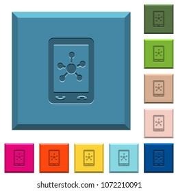 Mobile social networking engraved icons on edged square buttons in various trendy colors