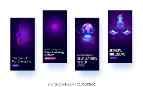 Mobile splash screen mockups for Artificial Intelligence (AI) concept.
