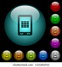 Mobile spreadsheet icons in color illuminated spherical glass buttons on black background. Can be used to black or dark templates