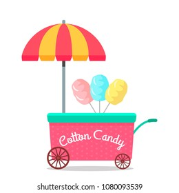"""Mobile stall on wheels """"sweet cotton wool"""". concept of small business. flat vector illustration isolated on white background"""