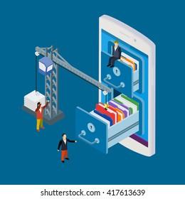 Mobile storage flat vector illustration. Businessman and crane put folder into abstract data base server