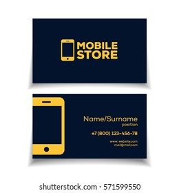 Mobile store business card design template with smartphone logo yellow color on white background. Perfect for your design. Vector Illustration