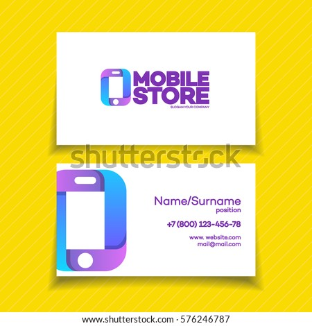 Mobile Store Business Card Design Template Stock Vector Royalty