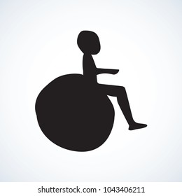 Mobile support stroller on white backdrop. Web simple walk street traffic law logo button. Freehand linear black ink hand drawn flat healthcare logotype emblem sketchy in retro doodle contour style