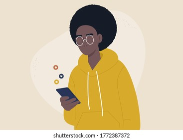 Mobile technologies, young African  character scrolling social media newsfeed on their smartphone, generation z lifestyle