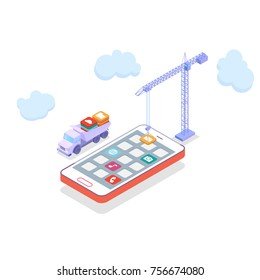 Mobile technology operating system creative process with cranes and trucks. visualization flat 3d web isometric infographic concept vector. placing building blocks mobile app icons to smartphone
