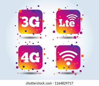 Mobile telecommunications icons. 3G, 4G and LTE technology symbols. Wi-fi Wireless and Long-Term evolution signs. Colour gradient square buttons. Flat design concept. Vector