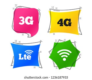 Mobile telecommunications icons. 3G, 4G and LTE technology symbols. Wi-fi Wireless and Long-Term evolution signs. Geometric colorful tags. Banners with flat icons. Trendy design. Vector
