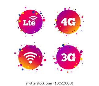 Mobile telecommunications icons. 3G, 4G and LTE technology symbols. Wi-fi Wireless and Long-Term evolution signs. Gradient circle buttons with icons. Random dots design. Vector