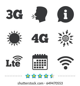 Mobile telecommunications icons. 3G, 4G and LTE technology symbols. Wi-fi Wireless and Long-Term evolution signs. Information, go to web and calendar icons. Sun and loud speak symbol. Vector