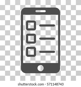 Mobile Test icon. Vector illustration style is flat iconic symbol, gray color, transparent background. Designed for web and software interfaces.