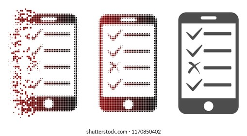 Mobile todo list icon in dispersed, dotted halftone and undamaged solid variants. Particles are combined into vector dispersed mobile todo list form.