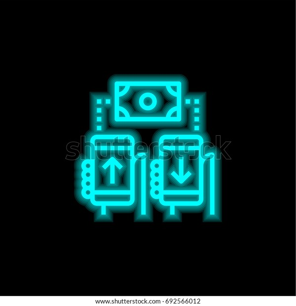 Mobile transfer blue glowing neon ui ux icon. Glowing sign logo vector