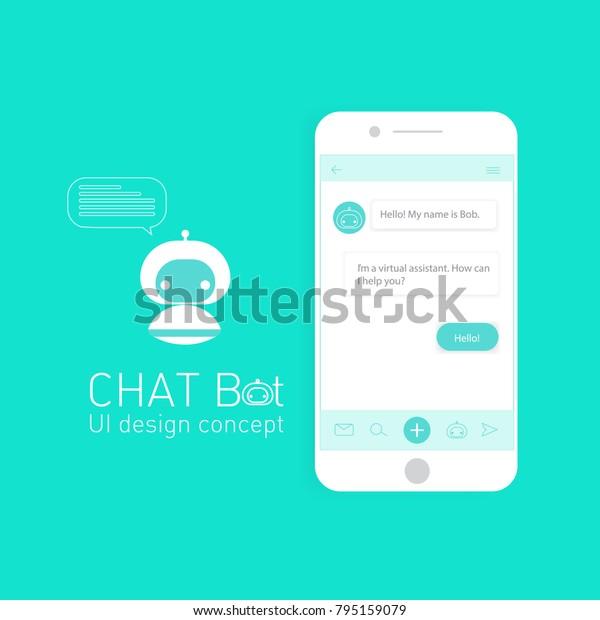Mobile Ui Design Concept Chatbot Application Stock Vector (Royalty