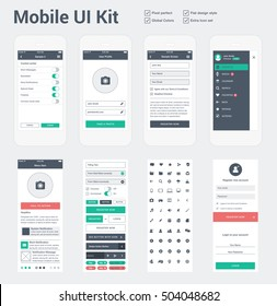 Mobile UI kit for app development, phone mockups & wireframes.