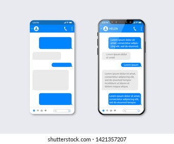 Mobile ui kit messenger. Chat app template. Social network concept. Mock up
