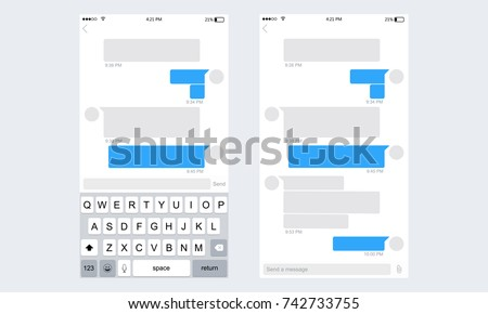 Mobile ui kit messenger. Chat app template whith mobile keyboard. Social network concept. Vector illustration