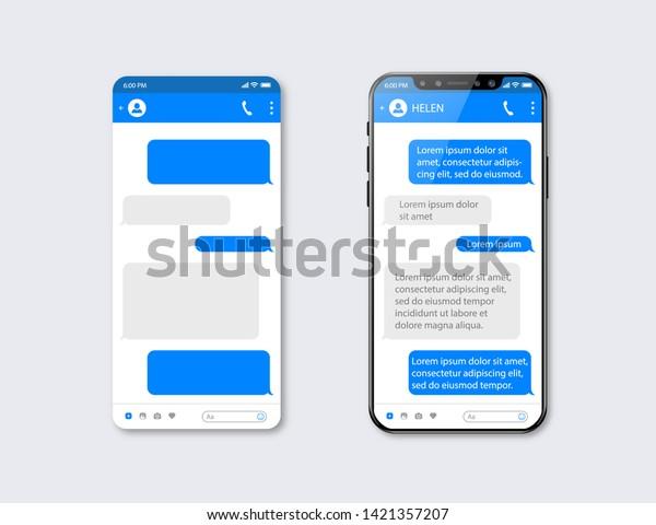 Mobile ui kit messenger. Chat app template. Social network concept. Mock up