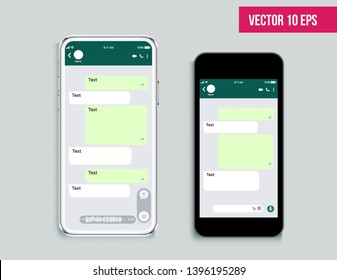 Mobile ui kit messenger. Mobile Phone. Chat app template. Modern realistic white and black smartphone. Social network concept. Vector illustration. Mock up