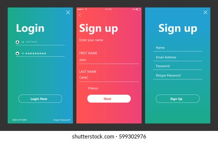 Mobile UI kit. Sign up form, Login form for app development, smartphone mockups and wireframes. Vector illustration