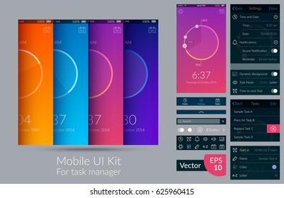 Mobile ui kit for task manager on light background flat vector illustration