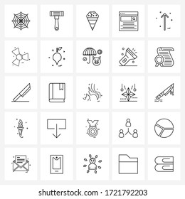 Mobile UI Line Icon Set of 25 Modern Pictograms of arrow up; arrow; cream; search; now Vector Illustration