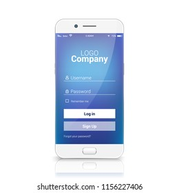 Mobile ui login register app template. Sign in vector signup design on smartphone.