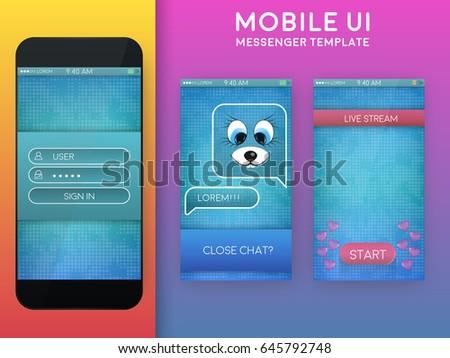 mobile ui messenger design template live stock vector royalty free