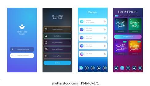 Mobile UI / UX Template Mockup - Wireframe Meditation App Concept