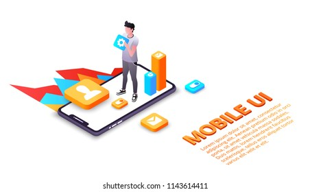 Mobile UI vector illustration of smartphone user interface or UX applications on display. Isometric design of web apps development for internet communication and smart devices