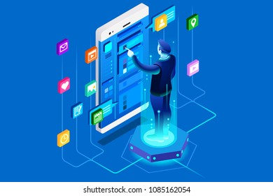 Mobile user, company interface of office application. Developer working on ui experience. Can use for web banner images. Flat isometric people, vector illustration isolated on generic background.