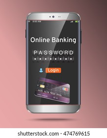 Mobile vector device with credit card. Security online banking technology concept. Password and login, shopping, banking operation on smartphone.