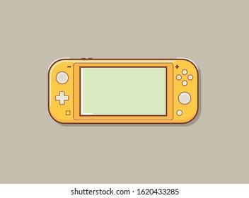 Mobile video console vector illustration. Video game console portable. Creative switch console.