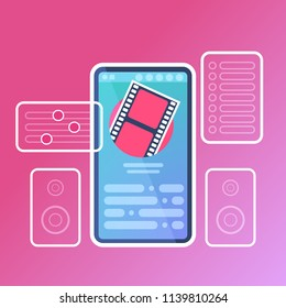 mobile video player application interface digital media online concept for design work and animation flat vector illustration