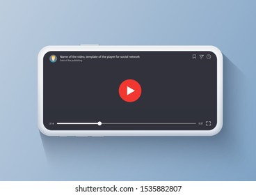 Mobile video player with red button. Concept of smartphone screen with channel stream. Video player on white mobile phone, vector illustration.