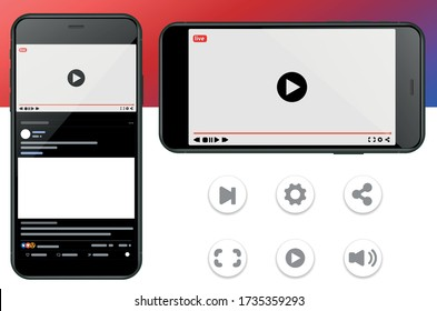 Mobile Video Player Vector UI Concept for Social Network on Photo Realistic Smartphone Screen Isolated on White Background. Online TV Watching on Mobile Device