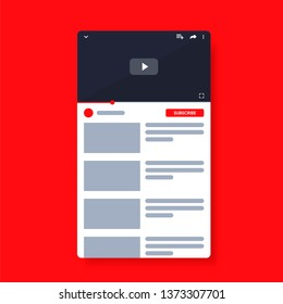 Mobile Video player youtube. Smartphone social media interface. Play video online mock up. Youtub subscribe button. UI window with navigation icon. Vector illustration.