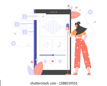 Mobile voice recording studio. Woman is recording a new song, podcast, online course. Character with a microphone standing beside a large smartphone. Vector flat illustration.