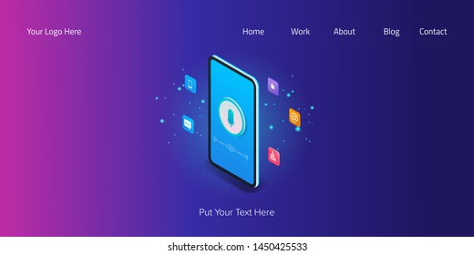 Mobile voice seo, Mobile voice, Seo for mobile marketing, Voice recognition app, modern 3D, isometric vector illustration with icons