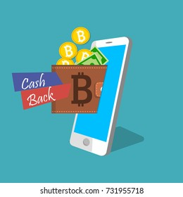 Mobile wallet with bitcoin cryptocurrency. Online payment design. Blockchain technology. Cryptocurrensy integrated in bank. Cashback on credit card or mobile wallet