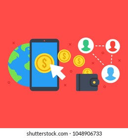 Mobile wallet, digital wallet concepts. Smartphone with gold coin on screen. Online transaction, mobile payment concepts. Modern flat design. Vector illustration